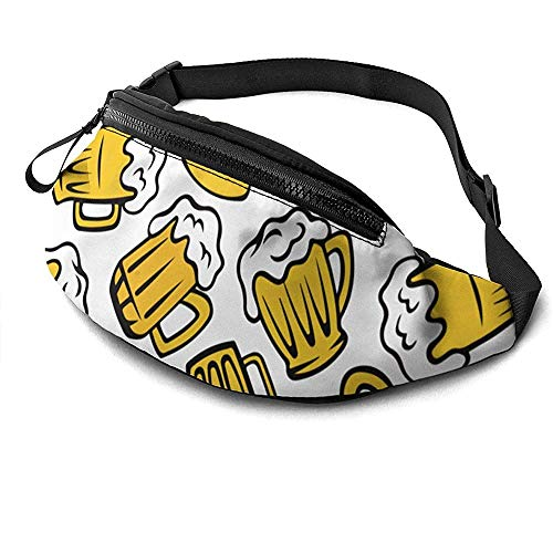 NA Cartoon Beer Glass Runner's Fanny Bag Waist Pack Sangles Réglables Poche avec Prise Casque pour Unisexe
