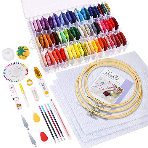 Caydo 164 Pieces Embroidery Kit with Instructions, 72 Color Threads with Organizer Box, 3 Pieces Aida Cloth, Embroidery Hoops and Cross Stitch Tools for Adults and Kids Beginners