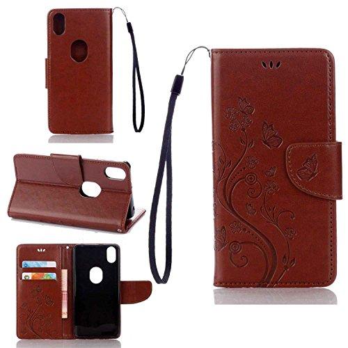 pinlu Schutzhülle Für BQ Aquaris X5 Plus (5 Zoll) Handyhülle Hohe Qualität PU Ledertasche Brieftasche Mit Stand Function Innenschlitzen Design Schmetterling Braun