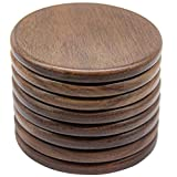 Eykao Coasters for Drinks, Coasters for Coffee Table, 4 Sets of Walnut Wood Coaster, Fit All Kinds of Cups, Wooden Table, Rustic Farmhous (Brown-Set of 8 Coasters)