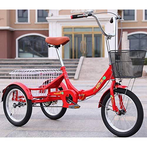 ZFF Mini Triciclo para Adultos Plegable Cruiser Trike Bicicleta De Tres Ruedas Grande Cesta Hombres Mujeres Picnics Compras 16 Pulgadas Rueda Bicicleta Triciclo Rojo