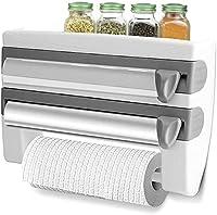 portarotolo triplo, portarotoli per 3 rotoli, porta pellicola cucina portarotoli da cucina da parete 3 in 1, taglia rotoli preciso e sempre pulito, portarotolo cucina per carta, pellicola e alluminio