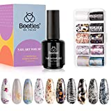 Beetles Nail Art Foil Glue Gel with Stickers Set Nail Transfer Glues 15ML Manicure Art DIY Nail 10PCS Animals Flowers butterfly Stickers, Nail Dryer Curing Lamp Required Soak Off