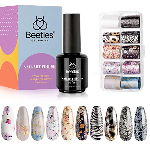 Beetles Nail Art Foil Glue Gel with Stickers Set Nail Transfer Glues 15ML Manicure Art DIY Nail...