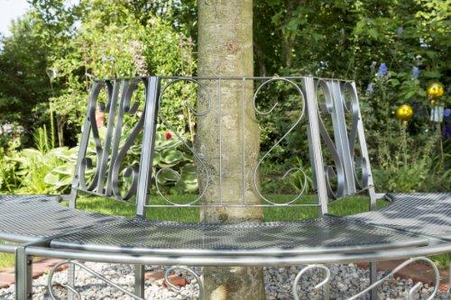 Baumbank 'Gjøvik' aus Metall - Gartenbank halbrund - Parkbank für den Garten - Baum-Rundbank wetterfest - Bank rund für Baumstamm, ca. 195 x 100 x 83 cm, eisengrau - 3