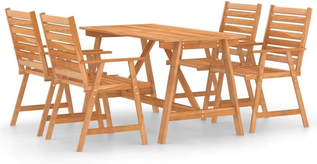 vidaXL Madera Maciza de Acacia Juego de Comedor para Jardín 5 Piezas Muebles Exterior Terraza Hogar Cocina Silla Mesa Asiento Suave con Respaldo