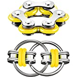 Gejoy Fidget Toy Set Include Six Roller Chain Fidget and Key Flippy Chain Stress Reducers for Autism Stress and Anxiety Relief (Yellow)