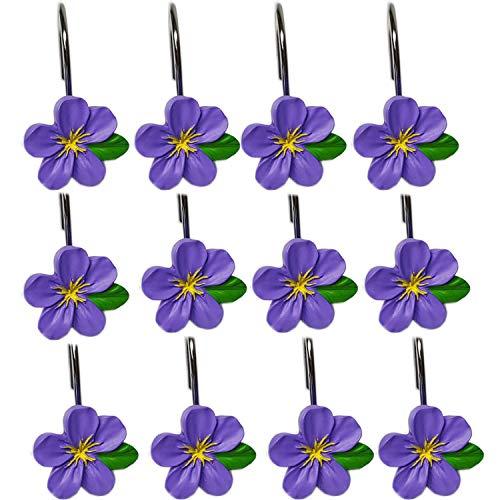 YYC LED-Set von 12schöne Blume Kunstharz Edelstahl Dusche Vorhang Haken violett
