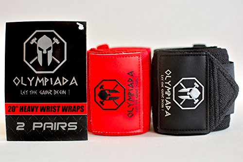20' Olympiada Wrist Wraps - 2020 Design (Extra Stiff -4 Wraps/ 2 Pairs) - Specially Designed for Powerlifting, Bodybuilding & Aesthetics! Highest Quality & Strongest Wraps on Amazon + Swag