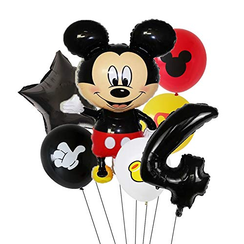 XIAOYAN Balloon 7pcs Disney Mickey Mouse Foil Balloons Set Boys &Girls Birthday Party Decoration Baby Shower Party 32inch Black Numbers Balloon ( Color : Mickey4 )