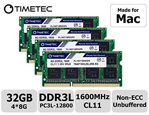Timetec Hynix IC 32GB KIT(4x8GB) Compatible for Apple DDR3L 1600MHz PC3L-12800 SODIMM Memory Upgrade...