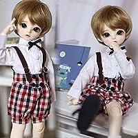 1/6 bjd yosd。bb mdd人形服シャツ+チェック柄サスペンダーパンツ学生スーツ,1 of 6 doll