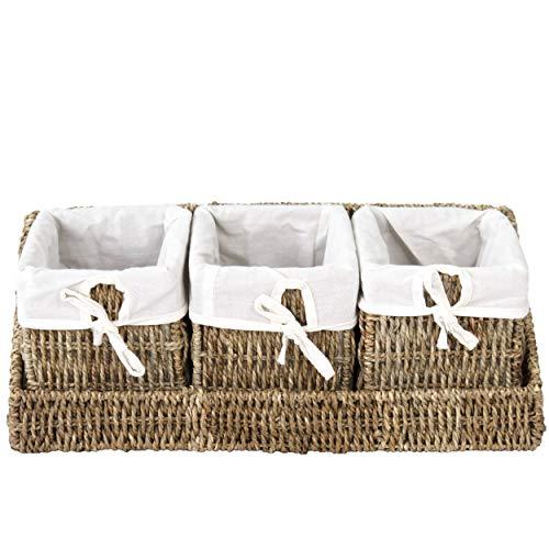 Cesta de Mimbre con Bandeja para organizar la Pared y Forros extraíbles (3 cestas de Color Natural con Bandeja)