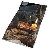 Gatto nero con candela Copricapo Copricapo multifunzione Poliestere Asciugatura rapida Fascia morbida Sciarpa collo, Copricapo premium Sciarpa testa all'aperto