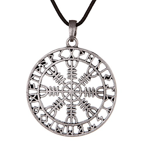 QIANJI Hollow Out Aegishjalmur Helm of awe Rune Circle Pendant Necklace Women