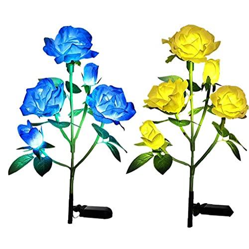 Sanfiyya Luces solares Rose, jardín, Luces solares de estaca del jardín de Flores del césped de Las Luces LED de la lámpara de Arte Decorativo con 5 Cabezas Azul Amarillo 2 Piezas