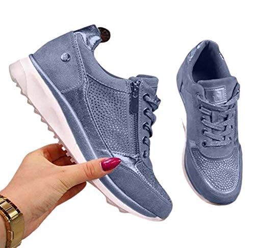 WODETIAN Sandalias de Vestir Zapatillas Deportivas de Mujer Moda Cremallera Cordones Zapatillas de Running Fitness Sneakers Casual Zapatos para Caminar,Azul,39