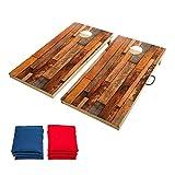 OOFIT Solid Wood Premium Cornhole Set - Classic 4'x2' Regulation Size Wooden Cornhole Boards Set Includes Set of 8 Corn Hole Toss Bags