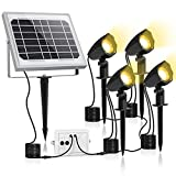 MEIHUA Solar Strahler 4 Stück Solar Gartenleuchte IP66 wasserdichte, Solarlampen für außen, mit Erdspieß, 2700K/4000K/6000K drei Farbtemperatur Einstellbar, für Gärten, Sträucher und Bäume