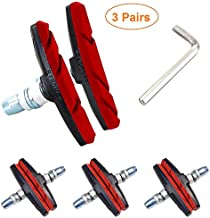 Alritz Bike Brake Pads Set, 3 Pairs Road Mountain Bicycle V-Brake Blocks Shoes with Hex Nut and Shims, No Noise No Skid, 70mm, for Front and Back Wheel