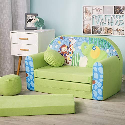 millybo Kindersofa Couch Kindercouch Spielsofa 3in1 Kinder Sofa Minisofa grün (MI-Z16)