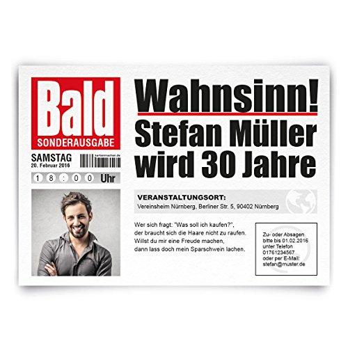 Einladungskarten zum Geburtstag (20 Stück) als Zeitung Presse Meldung Magazin Nachrichten