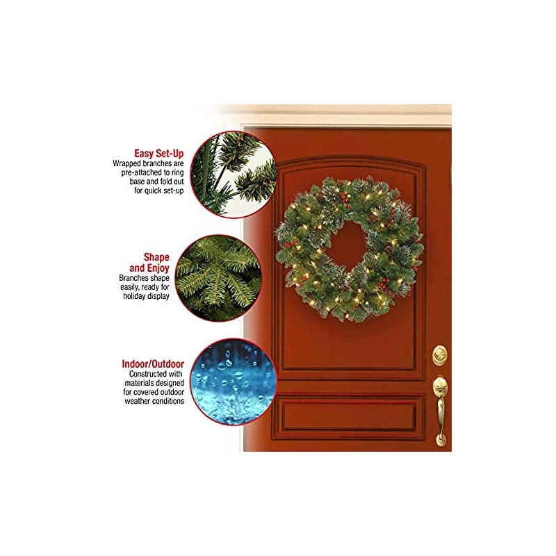 silk flower arrangements national tree company pre-lit artificial christmas wreath| flocked with mixed decorations and pre-strung white lights | crestwood spruce - 24 inch