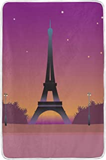 MIFSOIAVV Velvet Plush Throw Eiffel Tower Paris Sunset Microfiber Bed Blanket Washable Couch Or Bed Throws 60