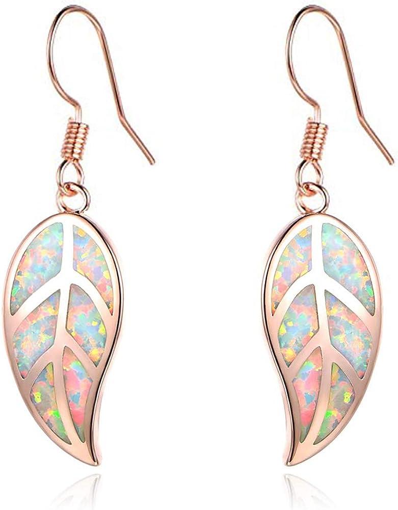 CiNily Opal Leaf Dangle Earrings-Created Fire Opal 18K Gold Plated Drop Earrings for Women Jewelry Gemstone Dangle Earrings 1 5/8
