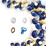 Wiletasz Bricolaje Globos Azul Marino 124pcs Kit de arco de guirnalda Decoraciones de suministros para fiestas Dorado Metálico Y Globos de látex confeti para boda, Cumpleaños, Aniversario, Partido