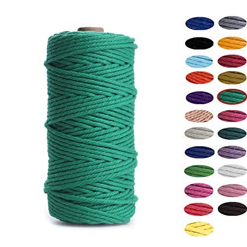 Binwat - Hilo de algodón natural para macramé. Para hacer manualidades, colgar cosas en la pared, colgar plantas, tejer,...