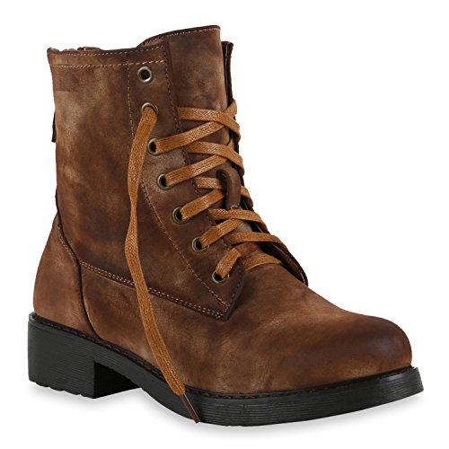 Schnürstiefeletten Damen Schuhe Stiefel Velours Optik Stiefeletten 128216 Hellbraun Total Camiri 37 Flandell