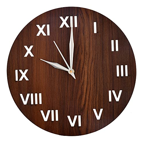 """Heart Home Roman Number Round Shaped Wooden 10"""" Wall Clock (Brown), Standard (HS39HEARTH022871)"""