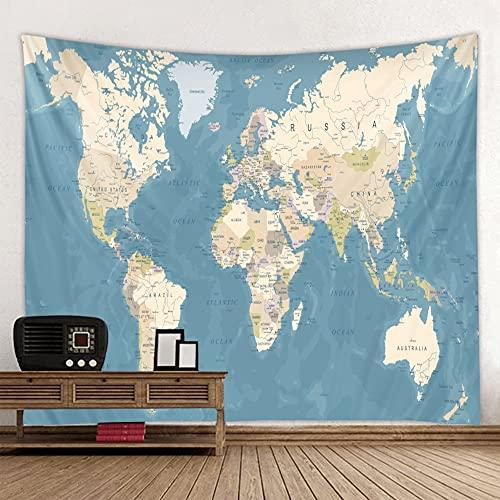 KHKJ El Tapiz de impresión de Mapa del Mundo súper Grande es Suave y fácil de cuidar para la decoración de la Pared Tela Colgante A3 150x130cm