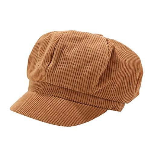 Sannysis Schirmmütze Einfacher Stil Vintage Baskenmütze Damen Bakerboy Mütze Cord Kappe Sommer Herbst Ballonmütze Barett Cap Rot