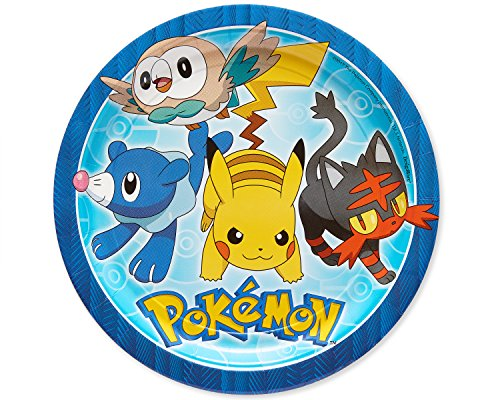 American Greetings Pokémon 8 Count Dinner Round Tableware, 8-Count, Lunch Plates-2, 8 Count