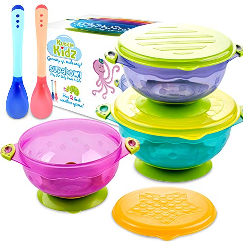 SUPABOWL Baby Suction Bowls for Toddlers, Baby Bowls First Stage w Lids & Spoons