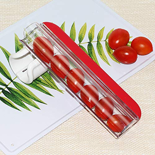bingx (Red) Stainless steel simple fruit slicer tomato grape cherry slicer fruit and vegetable salad cutting simple kitchen tools