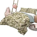 Juego de edredón para sofá cama Ropa de cama personalizada de camuflaje Lavable a máquina Patrón de camuflaje anticuado Tema clásico de supervivencia en la selva Tamaño completo Verde militar Verde pá