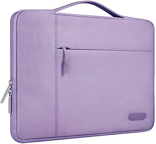 MOSISO Laptop Briefcase Compatible with MacBook Pro 16 inch, 15 15.4 15.6 inch Dell Lenovo HP Asus Acer Samsung Sony Chromebook, Polyester Multifunctional Sleeve Carrying Bag, Light Purple