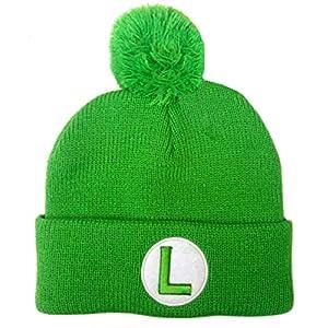 Super Mario Bros Luigi Pom Pom Knit Hat Beanie Green