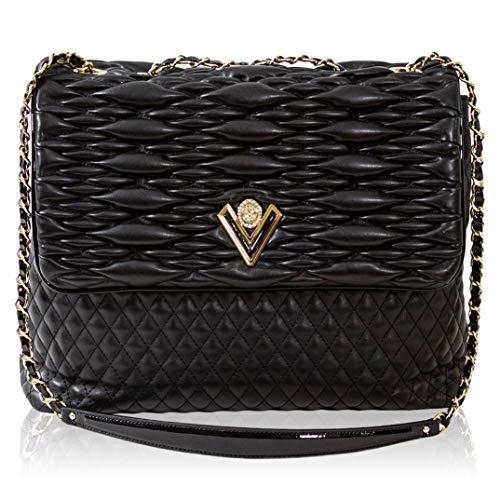 Valentino Orlandi Damen Medium Handtasche Italienische Designer Umhängetasche Einkaufstasche Obsidian Schwarz Echtleder Geldbörse in gestepptem Design mit Kettenriemen