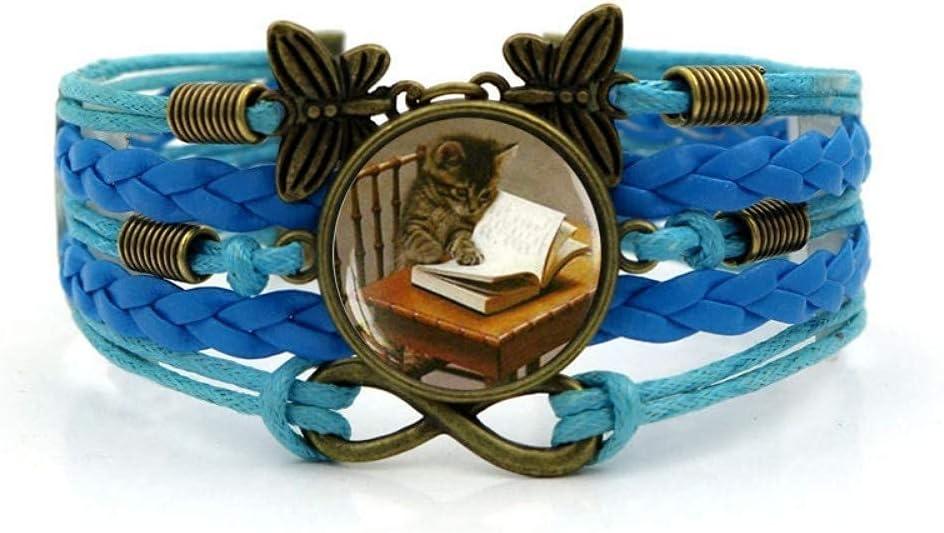 JUNWEN Woven Bracelet Superlatite Blue Rope Cat Safety and trust Art Knowledge Reading G Time