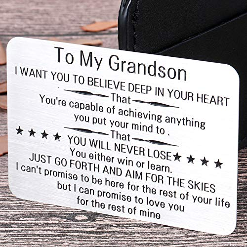 to My Grandson Wallet Card Inserts Christmas Valentine Gifts for Grandson from Grandma Grandpa Graduation Fathers Day Sweet 16th Birthday Gifts for Him Teens Adult Men Teenage Boys Inspirational