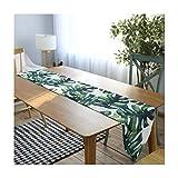 AMDXD Camino de mesa verde de lino de algodón, plantas tropicales, mantel para mesas de picnic de 30 x 220 cm, decoración de Navidad