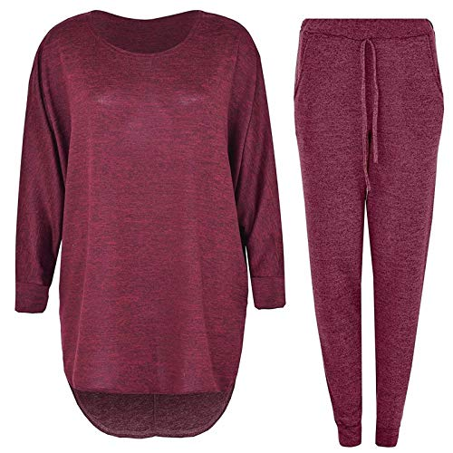 2 Pieces Track Suit Set High Low Top and Bottoms Casual Loungewear Sweatshirt Joggers Set (Wine Red, L)