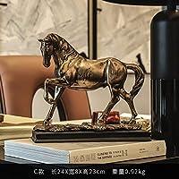 馬彫刻クリエイティブホーム彫刻樹脂クラフト装飾キャビネット家具付きお土産
