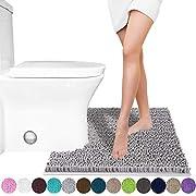 Yimobra Microfiber Bath Mat Non-Slip Large Bathroom Rugs Shower Soft High Absorbent (Gray 23.7 X 20.2 Inch)