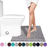 Yimobra Luxury Shaggy Toilet Bath Mat U-Shaped Contour Rugs for Bathroom, Soft and Comfortable, Maximum Absorbent, Dry Quickly, Non-Slip, Machine-Washable, 24.4 X 20.4 Inches, Gray