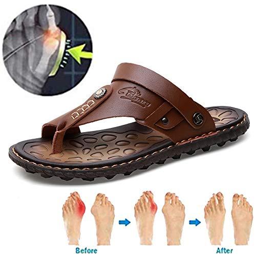 XCBW Sandali da Uomo con correzione del Piede Piatto Scarpe estive da Spiaggia Moda in Pelle Confortevoli Pantofole Open Toe per correzione Alluce valgo Alluce,Cachi,43